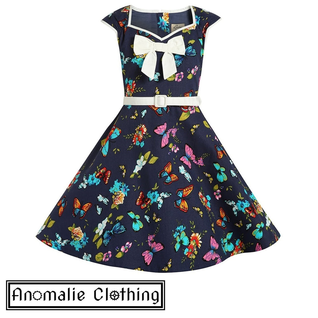 Navy Blue Butterfly Mini Alanis Children's Dress - Discontinued