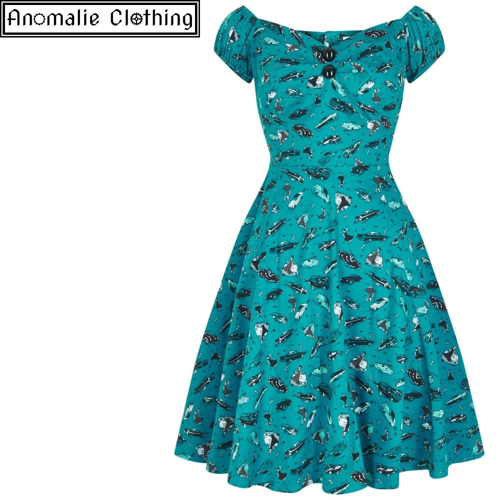 Dolores Doll Mini Dress in Teal 50s Car Print - One XXS left!