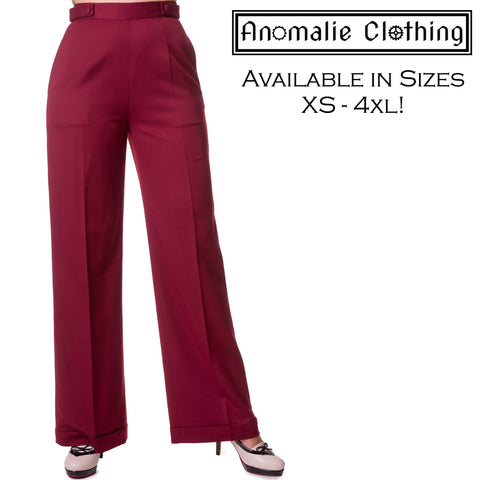 Party On Wide Leg Trousers in Bordeaux