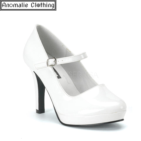 Contessa Mary Jane Pumps in White Patent Faux Leather