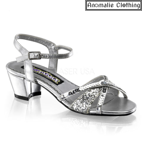 Girl's Charming Glitter Sandal in Silver
