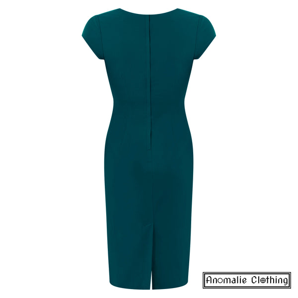 Regina Pencil Dress in Teal Green