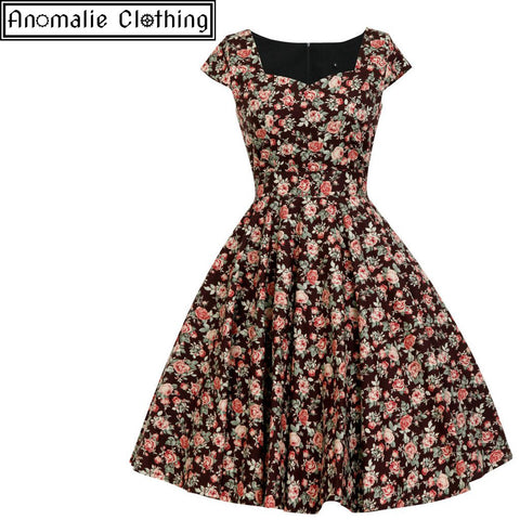 Hanna Swing Dress in Vintage Rose Print