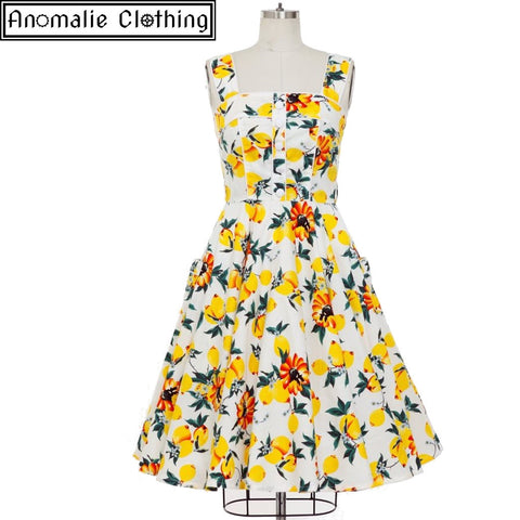 Emma Swing Dress in Lemon Print