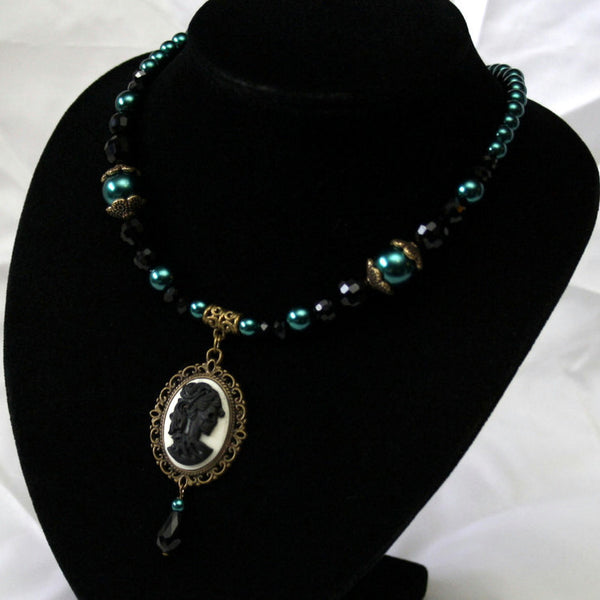 Teal Pearls & Black Crystals Skeleton Lady Cameo Necklace