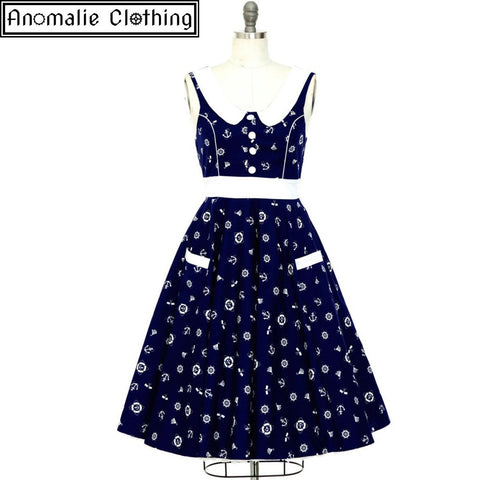 Lucy Swing Dress in Navy and White Nautical Print