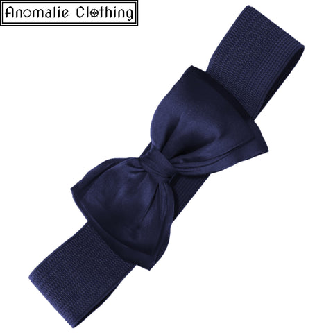 Bella Wide Belt with Bow in Navy Blue