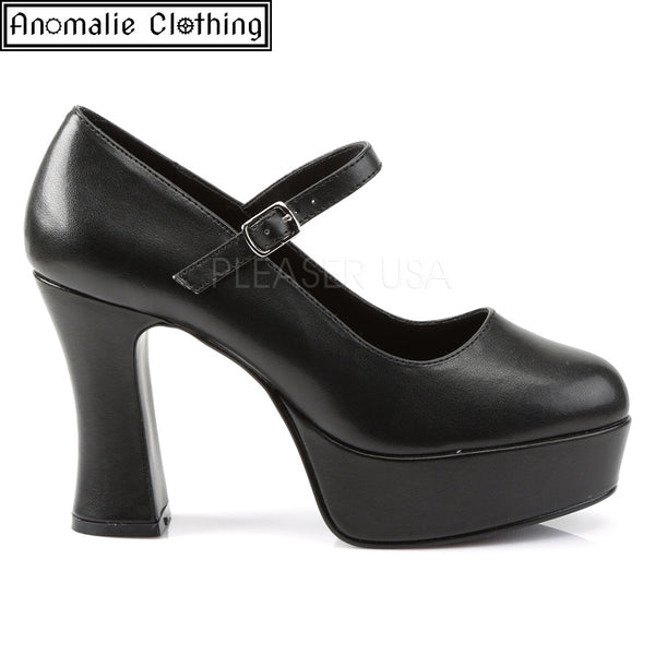 Maryjane Platform Pumps in Matte Black Faux Leather