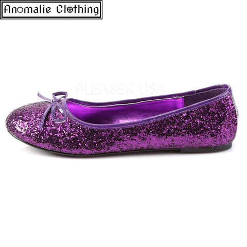 Glitter Ballet Flats in Purple
