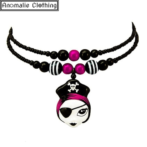 Pink Pirate Girl Necklace - Last one!