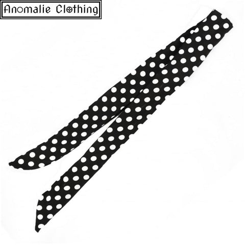 Pinup Wired Polka Dot Bandana in Black and White