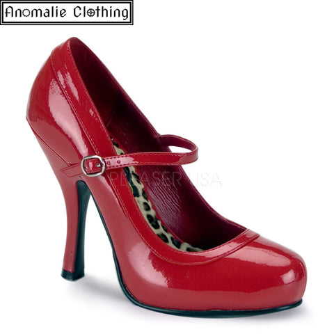 Pretty Mary Jane Pumps in Red Patent Faux Leather
