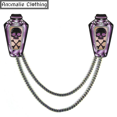 Purple Poison Bottle Cardigan Clips - Discontinued