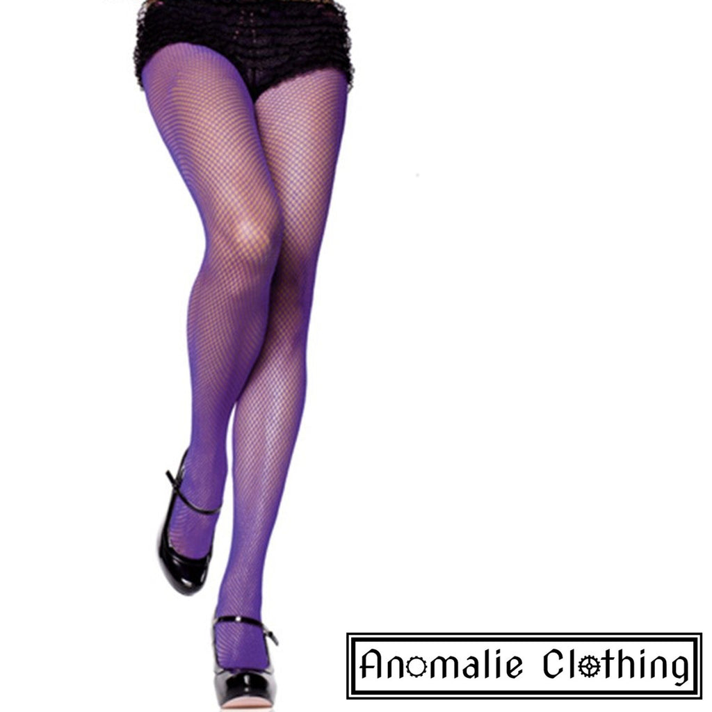 Purple Spandex Fishnet Pantyhose