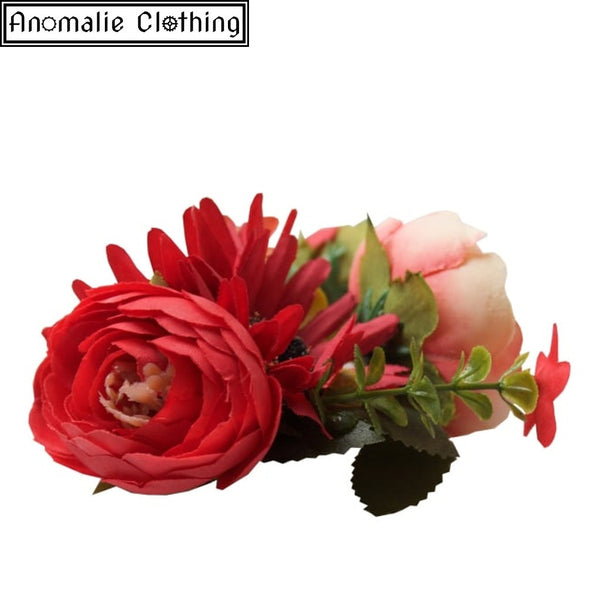 Country Garden Gerbera Hair Clip in Red