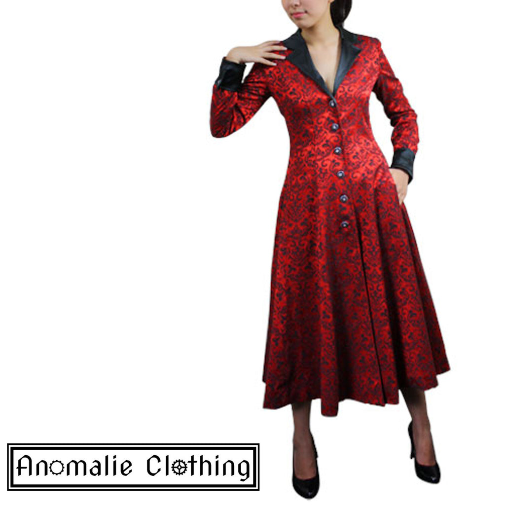 Red & Black Jacquard Long Coat - Discontinued