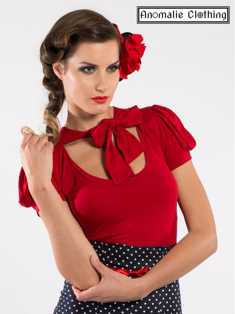Red Short Sleeve Pussybow Top