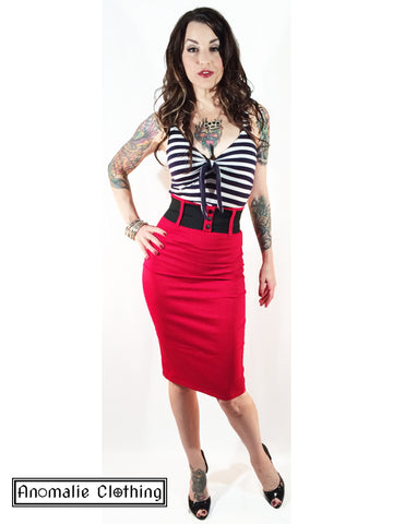 Red Wide Belt Pencil Skirt