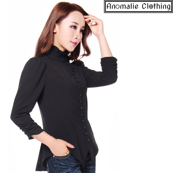 Steampunk Blouse with Ruched Sleeves in Black
