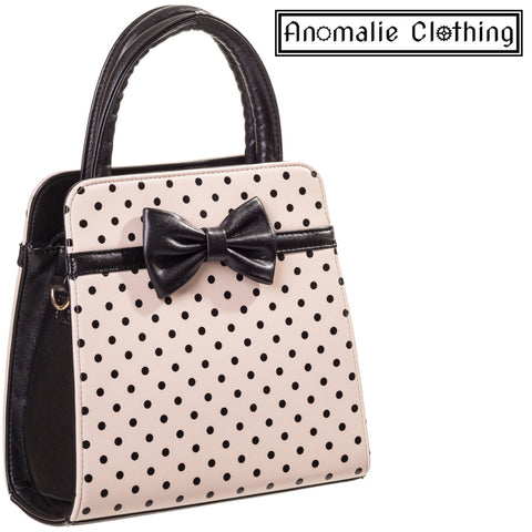 Carla Handbag with Polka Dots & Bow in Cream & Black