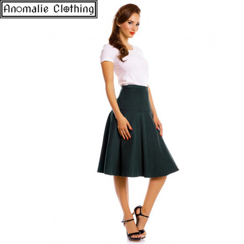 Ella Vintage Inspired Flared Skirt in Dark Green