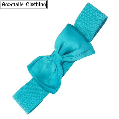 Bella Wide Belt with Bow in Turquoise