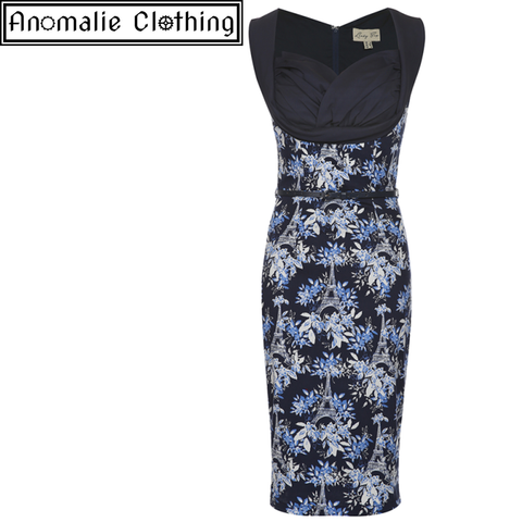 Vanessa Wiggle Dress in Navy Blue Eiffel Print