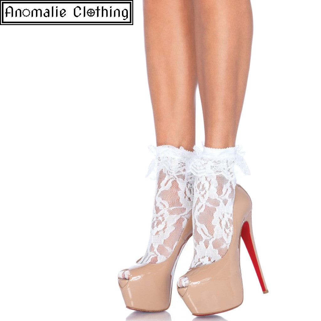 Lace Anklet with Ruffle in White