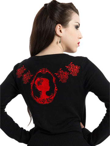 Red & Black Cameo Rose Cardigan