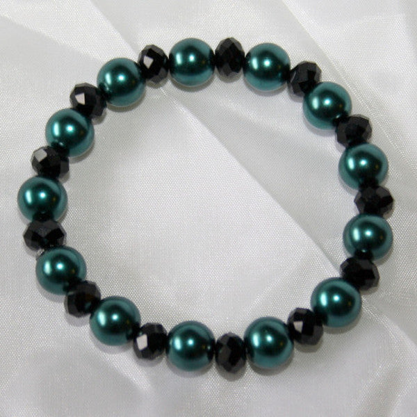 Teal Pearls & Black Crystals Stretch Bracelet