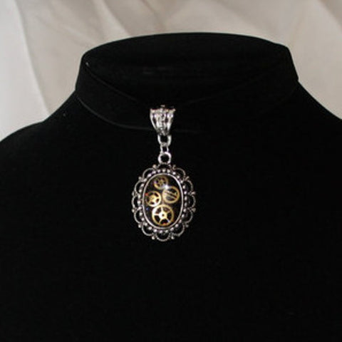 Steampunk Resin and Gears Small Silver Oval Filigree Pendant on Black Velvet Choker