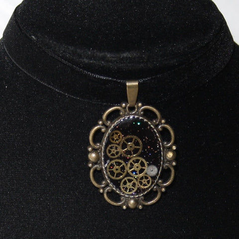 Steampunk Resin and Gears Medium Bronze Regal Pendant on Black Velvet Choker