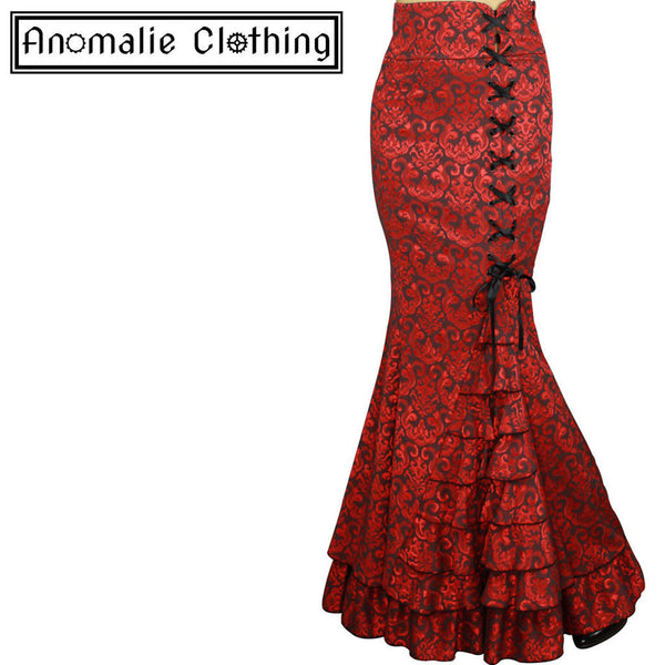 Red Jacquard Laces and Ruffles Fishtail Skirt