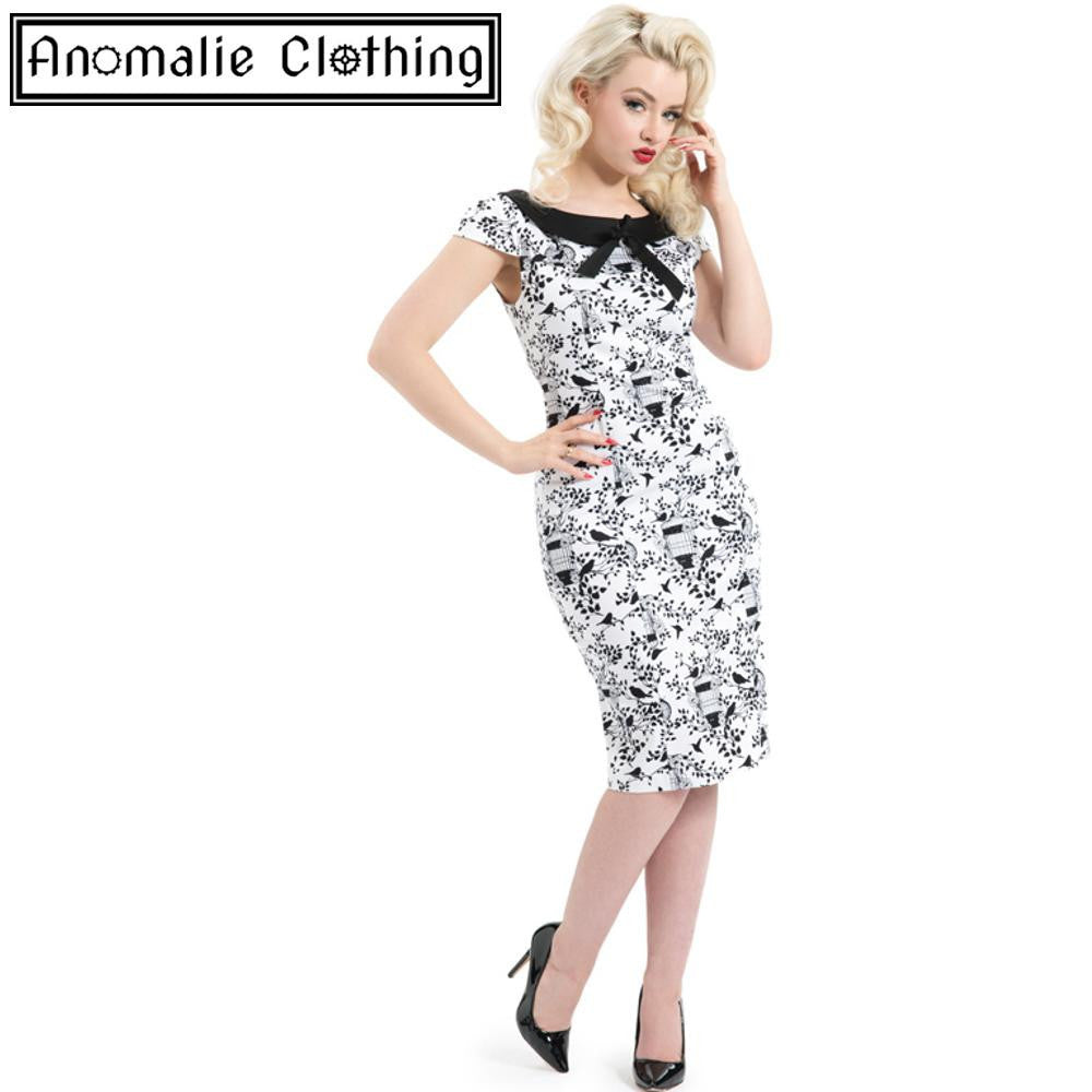White & Black Avis Bird Cage Dress