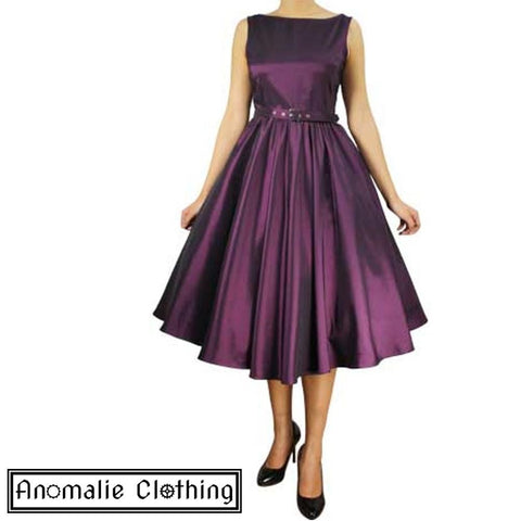 Purple Satin Sleeveless Belted Swing Dress