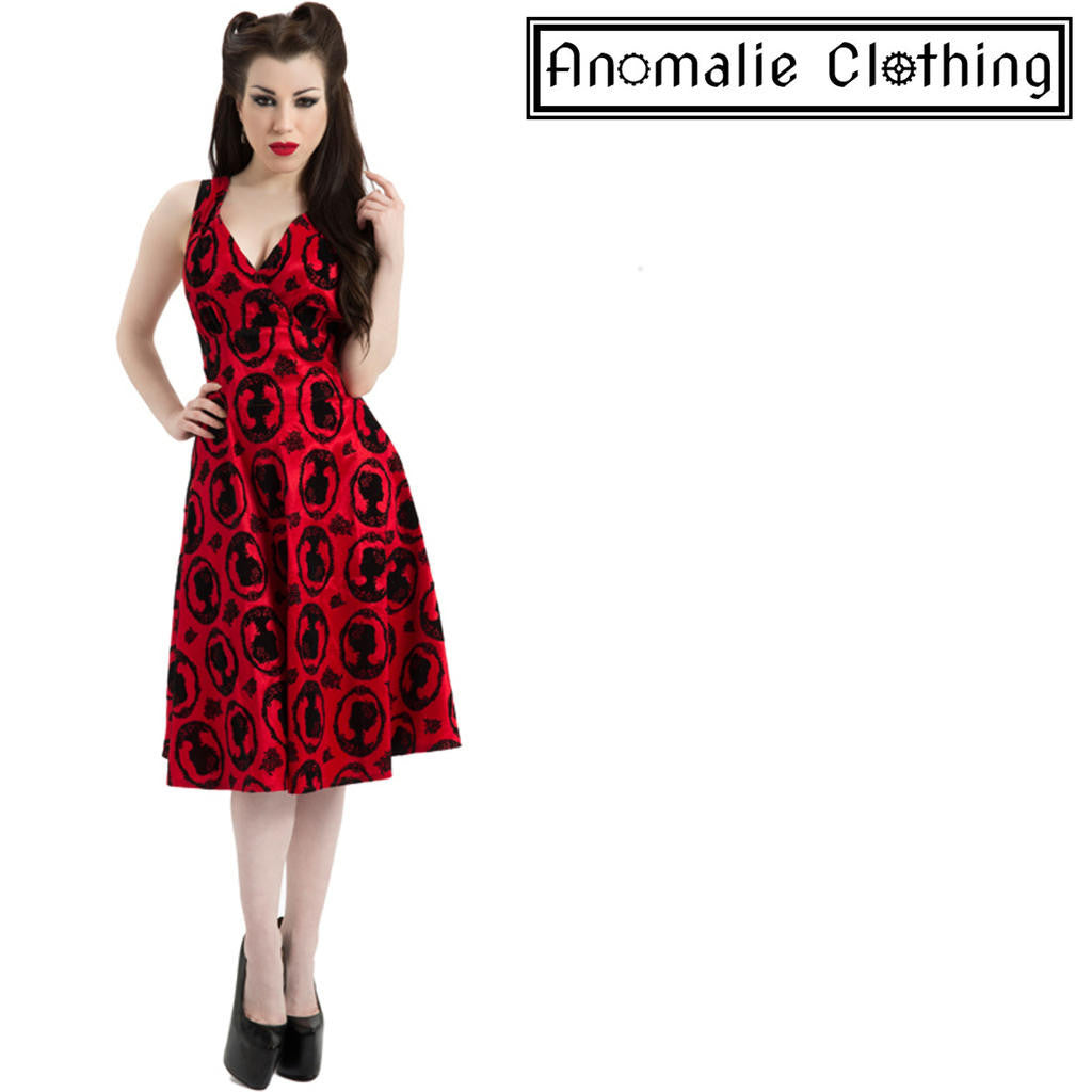 Red & Black Cameo Rose Dress - Discontinued