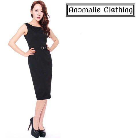 Black Ponte Belted Sleeveless Pencil Dress - Discontinued