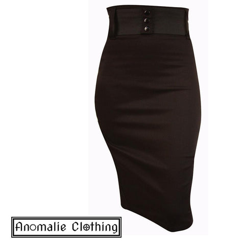 Black Wide Belt Pencil Skirt