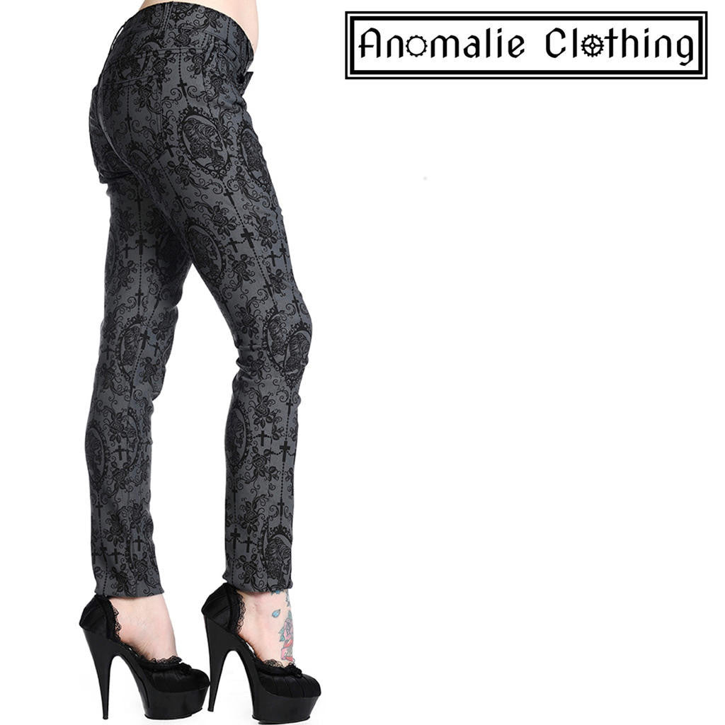 5ac5cd37932cb Grey & Black Cross & Cameo Skinny Leg Trousers by Banned Apparel at  Anomalie Clothing