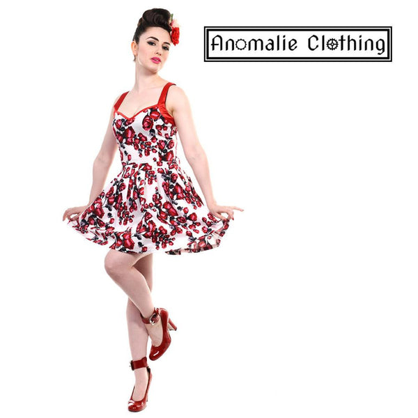 Red & White Roses Short Dress