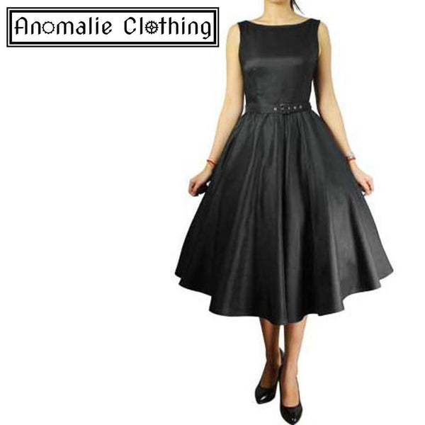 Black Satin Sleeveless Belted Swing Dress