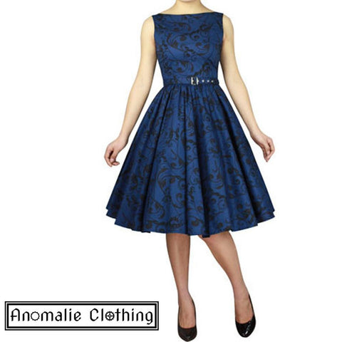 Blue Swirl Print Sleeveless Swing Dress