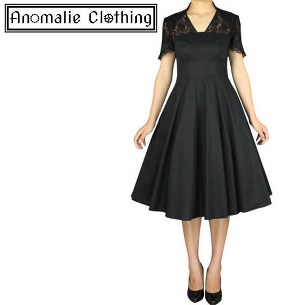 Black 1940s Full Dress with Lace - Discontinued