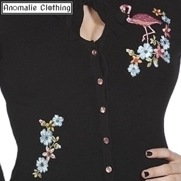 Pink Flamingo Cardigan in Black