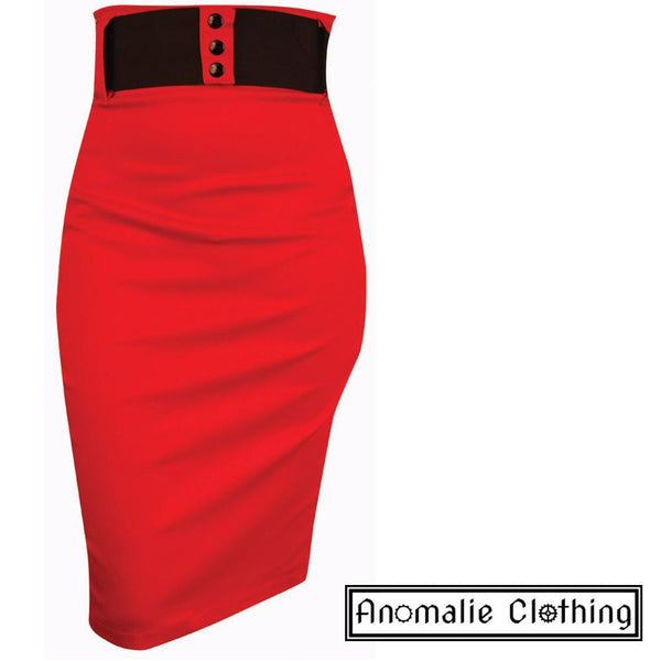 Red Wide Belt Pencil Skirt - Only one 2XL left!