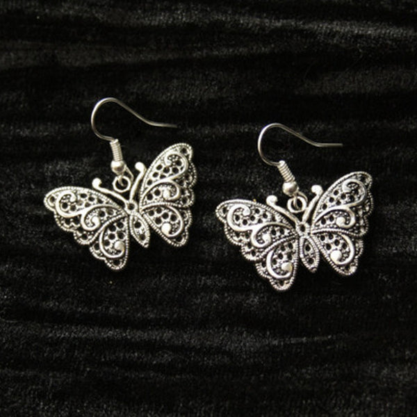 Silver Filigree Butterfly Earrings