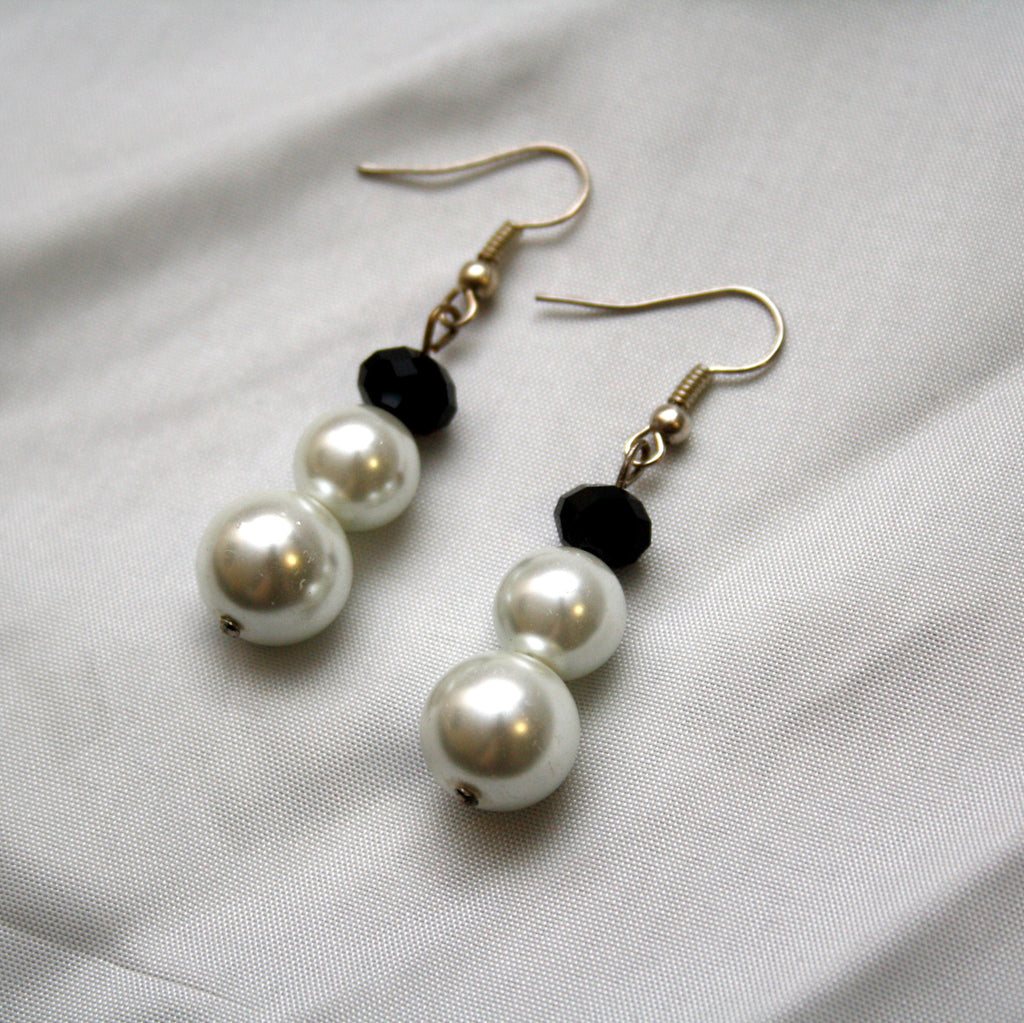 White Pearl and Black Crystal Earrings