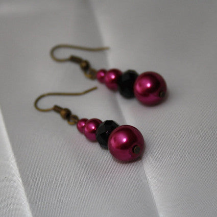 Magenta Faux Pearl Earrings with Black Faux Crystals - Discontinued