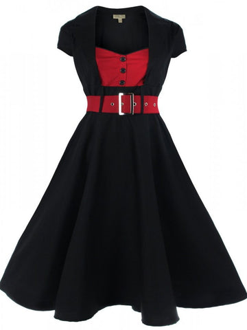 Red & Black Geneva Swing Dress - Discontinued