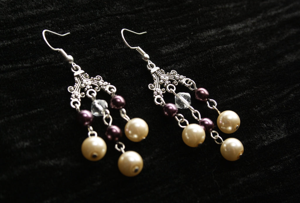 Burgundy & Cream Pearl Chandelier Earrings